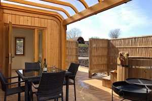 Decking and hot tub at the Argyll, Highfield Holidays, Oban, Scotland